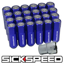 SICKSPEED 20 PC BLUE/POLISHED CAPPED EXTENDED 60MM LOCKING LUG NUTS 14X1.5 L19