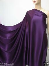Deep Purple Pure Silk Satin Charmeuse Fashion Fabric per Yard Plain Crepe Back
