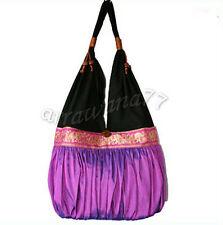 Thai Cotton Silk Elephant Hand Shoulder Bag TOTE BOHO TRAVEL Purple