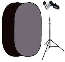 Pro 5ft x7ft Collapsible black Grey flex out Twist Muslin Backdrop stand kit