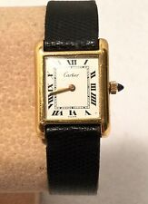c.1980s CARTIER 18k Gold Electroplated TANK Daily Winder Wristwatch - AS-IS!