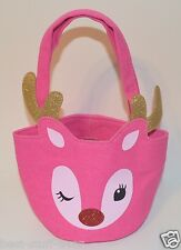 BATH BODY WORKS PINK REINDEER SMALL TOTE CANVAS BAG PURSE SILVER HANDBAG RUDOLPH
