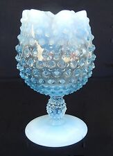 Vintage Fenton Light Blue Opalescent Hobnail Crimped Rim Pedestal Rose Bowl
