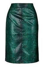 Topshop Python Green Faux Snakeskin Pencil Midi Skirt Split Back UK 12 RRP £42