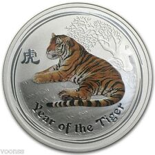 Perth Mint Australia 2010 Tiger Colored 1 oz .999 Silver Coin