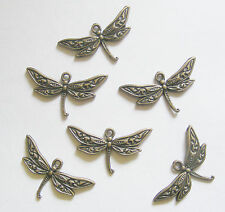 6 Metal Antique Bronze Colour Dragonfly Charms - 32mm