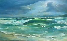 Vintage Oil Painting Seascape Signed Ocean Waves