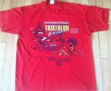 Vintage 80s SPALDING red Triathalon shirt XL cycling swimming blend running