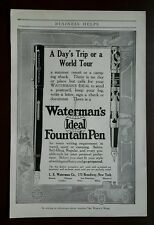 Antique 1914 Waterman Ideal Fountain Pen summer travel writing original print ad