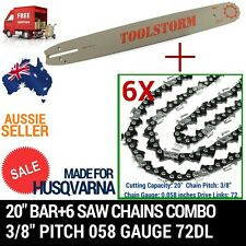 "20"" BAR+6 CHAIN COMBO HUSQVARNA CHAINSAW 3/8 058 72DL,65,266,372,394,395XP,365"