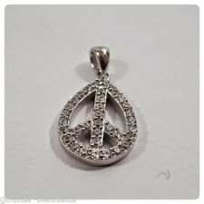 925 Sterling Silver & Pave Set Cubic Zirconia CZ Pear Peace CND Pendant Charm