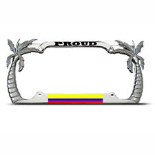 PROUD COLOMBIAN PALM TREE License Plate Frame COLOMBIA FLAG PRIDE Tag Border