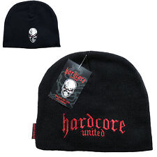 Hardcore United Black Beanie Hat Cap Logo & Skull 100% Acrylic One-Size