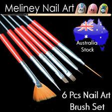 6 Pcs Nail Art Brush Set - Detail Liner angle  Dotting tool fan brush set