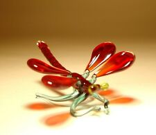 Blown Glass Art Insect Figurine Small Dark Red DRAGONFLY