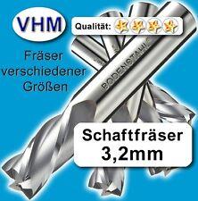 Vollhartmetall Fräser 3,2mm f. Kunststoff Holz MdF Alu GfK, VHM Schaftfräser #39