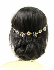 Gold Flower & Olive Leaf Headband Hair Headpiece Grecian Boho Bridal Vine 622
