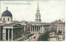 OLD POSTCARD OF NATIONAL GALLERY & ST MARTINS CHURCH LONDON- PHOTOCHROM CELESQUE
