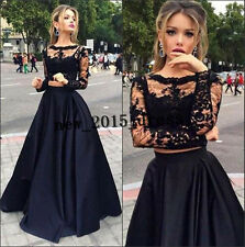 Sexy Black Two Pieces Prom Dress Lace Evening Gown Party Pageant Dresses Custom