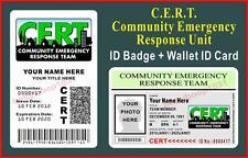 CERT ID Badge + Wallet ID Card Set  (COMMUNITY EMERGENCY RESPONSE TEAM) CUSTOM