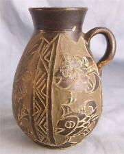 STUDIO SGRAFFITTO/CUT BACK STYLIZED FISH & FLORAL DECORATED JUG