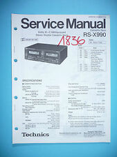 Service MANUAL PER TECHNICS rs-x990 cassette deck, ORIGINALE