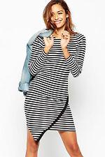 Abito a cono aperto spacco Aderente Svasato Casual Mini Bodycon Stripe Dress