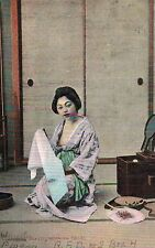Japan,Geisha,Japanese Beauty at the Morning Toilet,Used,U.S.Stamp,1908