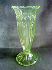 """Moulded green uranium glass tulip vase  UV tested positive 7.75"""" tall"""