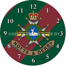 NOTTS & DERBY (SHERWOOD FORESTERS) GLASS WALL CLOCK