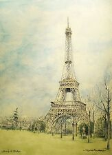 Art Picture Greeting Card Watercolor Painting Eiffel Tower France France Travel