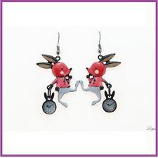 BOUCLES D'OREILLES émaillées lapin d'Alice rouge LOL bijou fantaisie