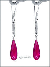 Synthetic Ruby In Sterling Silver Dangle Drop Earrings Fuchsia #65228