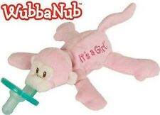 WubbaNub It's A Girl Pink Monkey Infant Binkie Pacifier Soothie Stuffed Animal