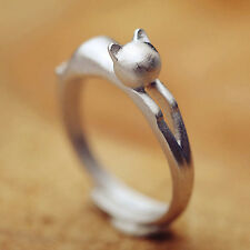 Trendy Silver Plated Cat Design Opening Adjustable Rings Plain Wedding Ring DIS