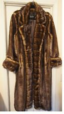 Womens TERRY LEWIS CLASSIC LUXURIES FAUX FUR MINK COAT FULL LENGTH BROWN L