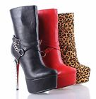 "Ankle/Mid-Calf Chain Style Spikes Sexy Booties 6"" High Heels Womens Boots Shoes"