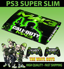 PLAYSTATION PS3 SUPER SLIM COD MW3 GREEN CALL OF DUTY  SKIN STICKER & 2 PAD SKIN