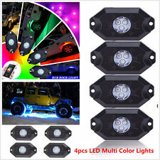 Set of 4x Pod RGB LED Rock Lights Wireless Bluetooth Music Flashing Multi Colors