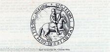 Antique print seal,deed Luxembourg Lodewijk III van Chiny Louis