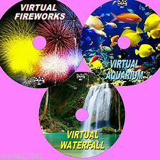 RELAXING VIRTUAL WATERFALL, AQUARIUM & FIREWORKS 3 DVD SET VIEW ON TV/PC Etc NEW