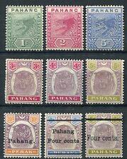Malaya pahang TIGRI 1891-99 sg11/16, 19, 25 & 28 menta fresca (9)