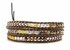 CHAN LUU Mineral Stone with Silver Chain Brown Leather 3 Wrap Bracelet 21 - 23""