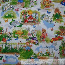 BonEful FABRIC Cotton Quilt Suzy Zoo Book Rainbow Flower Baby Girl Boy FQ SCRAP