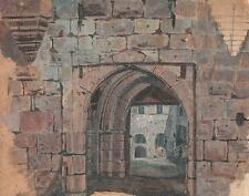 CASTLE ARCHWAY Antique Oil Painting On Paper c1930