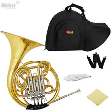 Aklot Professional Bb F 4 Key Double French Horn Cupronickel Tuning Pipe Gold