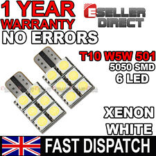 2x White 501 T10 W5W Wedge 6LED Bulb Interior Number Plate Sidelight DRL For GTR