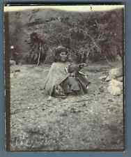 Algeria, Woman of the Hill Tribe Village; her hut behind her   Vintage citrate p