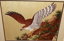 JAPANESE EAGLE IN A TREE EMBROIDERY TAPESTRY PAINTING