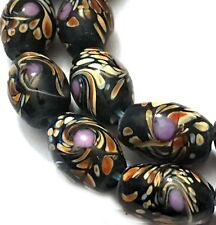 Lampwork Handmade Glass moonlight / Black Peacock Swirls Barrel Beads 15x10mm